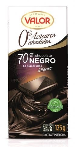 Chocolate Valor 70% negro 0% azúcares añadidos 125g