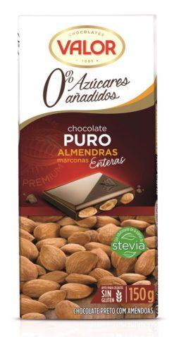 Chocolate Valor puro con almendras 0% azúcares añadidos 150 g