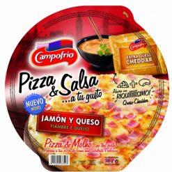 Pizza Campofrío jamón y queso con salsa de queso cheddar 360 g