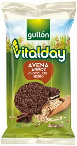 Tortitas Gullón avena chocolate negro Vitalday 4x20.5 g