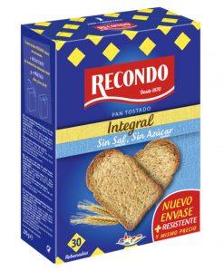 Pan tostado Recondo 30 rebanadas integral sin sal y sin azúcar 270 g