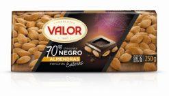 Chocolate Valor 70% negro con almendras 250 g