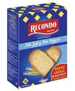 Pan tostado Recondo 30 rebanadas sin sal y sin azúcar 270 g