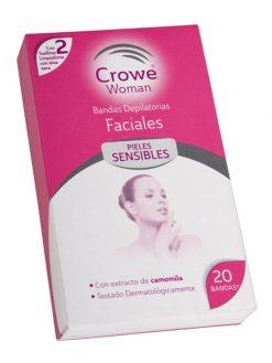 Bandas depilatorias faciales Crowe 20 u + 2 toallitas limpiadoras