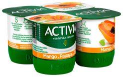 Activia mango papaya con soja 4x120 g